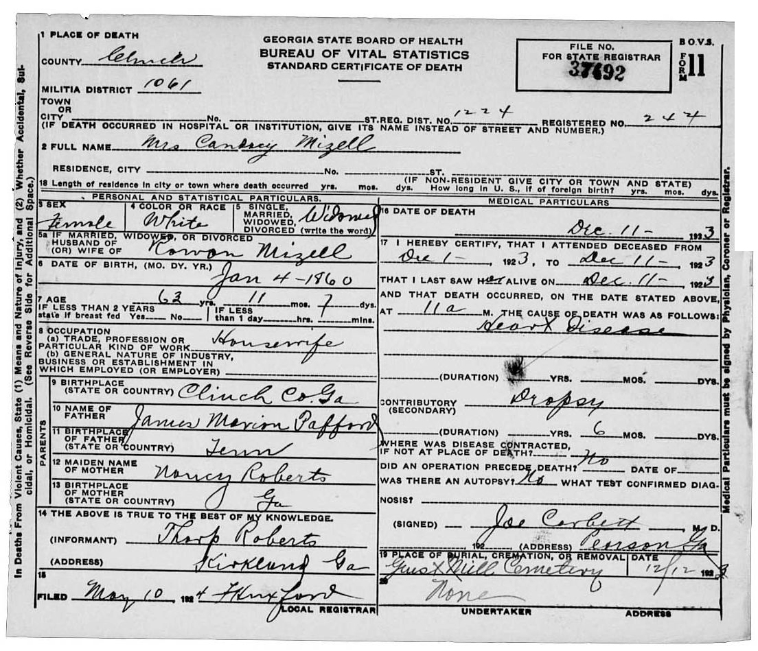 Documents Candacy Mizell Certificate Of Death Rd Stone Family