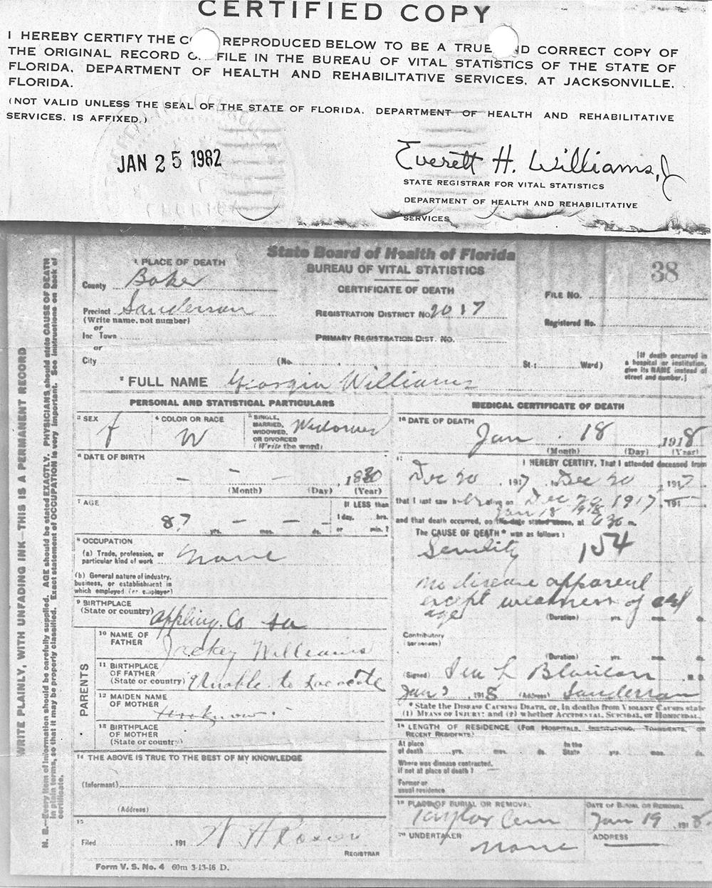 Documents Georgia Ann Williams Certificate Of Death Rd Stone