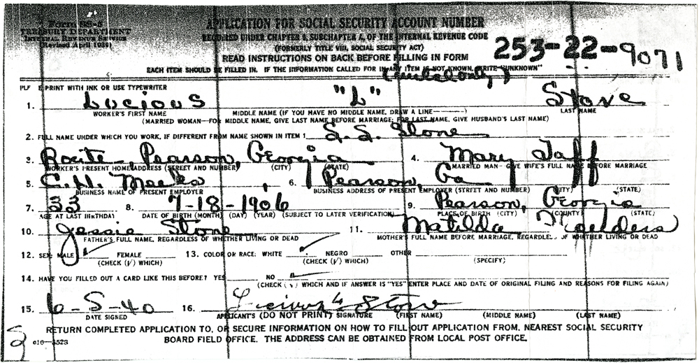 Documents Lucious L Stone Ssn Application Form Ss 5 Rd Stone